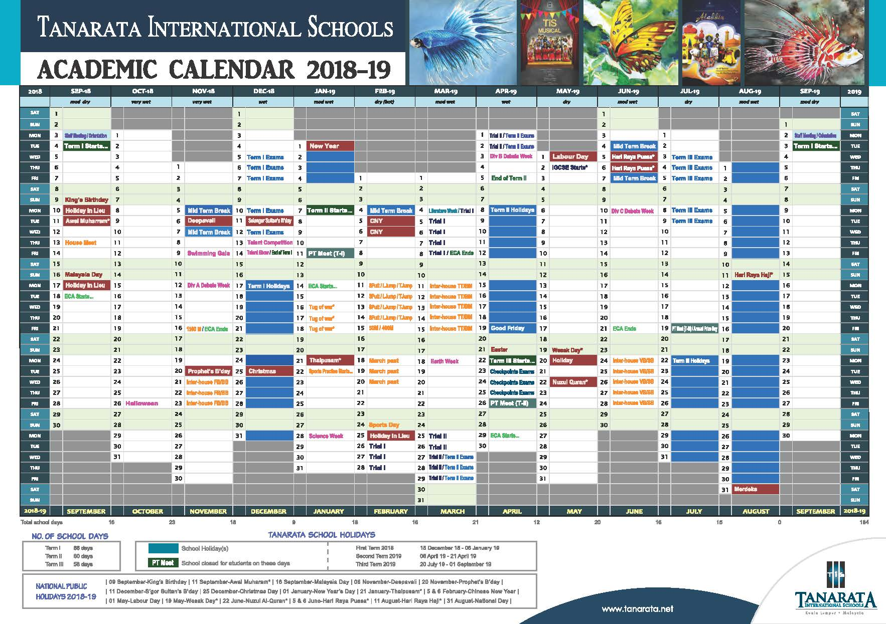 TiS Academic Calendar 2018 19 outlined